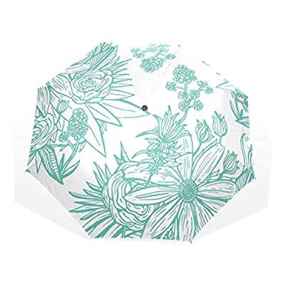 LORVIES Green Line Flowers Custom Foldable Sun Rain Umbrella Wind Resistant  Windproof Folding Travel Umbrella free ed4424979c