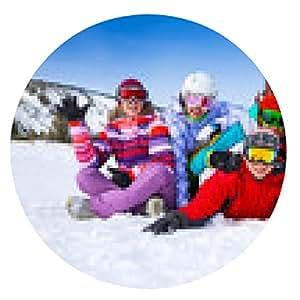 alfombrilla de ratón Grupo de snowboarders sonriente - ronda - 20cm