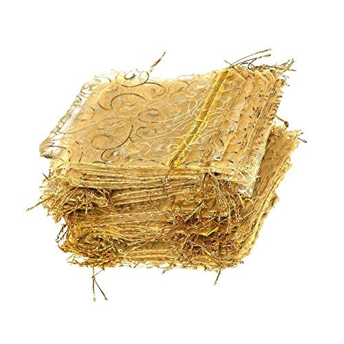 Giveet 100 Pieces Gold Sheer Organza Gift Bags, Drawstring Pouches Jewelry Bags, Candy Pouch Chocolate Pouch Party Wedding Favor Gift Bags, 4.7 x 3.5 Inches