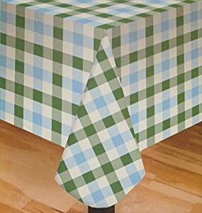 Picnic Gingham Check Green Blue White Plaid Vinyl Tablecloth   60x84    Oblong Or Oval