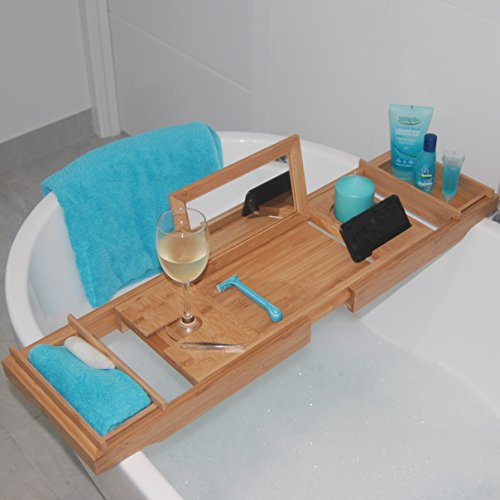 Bathtub Caddy Tray with MIRROR !!! Made from Eco Friendly Bamboo with Extending Non Slip Sides to Fit Most Bathtubs, Wine Glass Holder, 2 Removable Storage Shelves and Much More