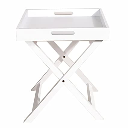 Hongsezhuozi Tables Coffee Table Square White Foldable Tea