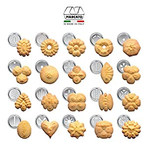 Marcato Atlas Biscuit Maker Press, Made in Italy, Includes 20 Cookie Disc Shapes, Classic Silver