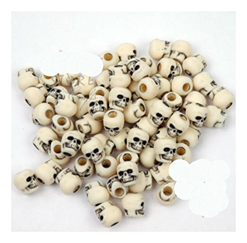 100 Ivory color Skull Pony Beads for halloween crafts paracord jewelry making Creepy Style -