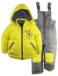 Rugged Bear Little Boys' Robot Winter 2Pc Snowsuit Ski Bib Pant Set, Acid, 4
