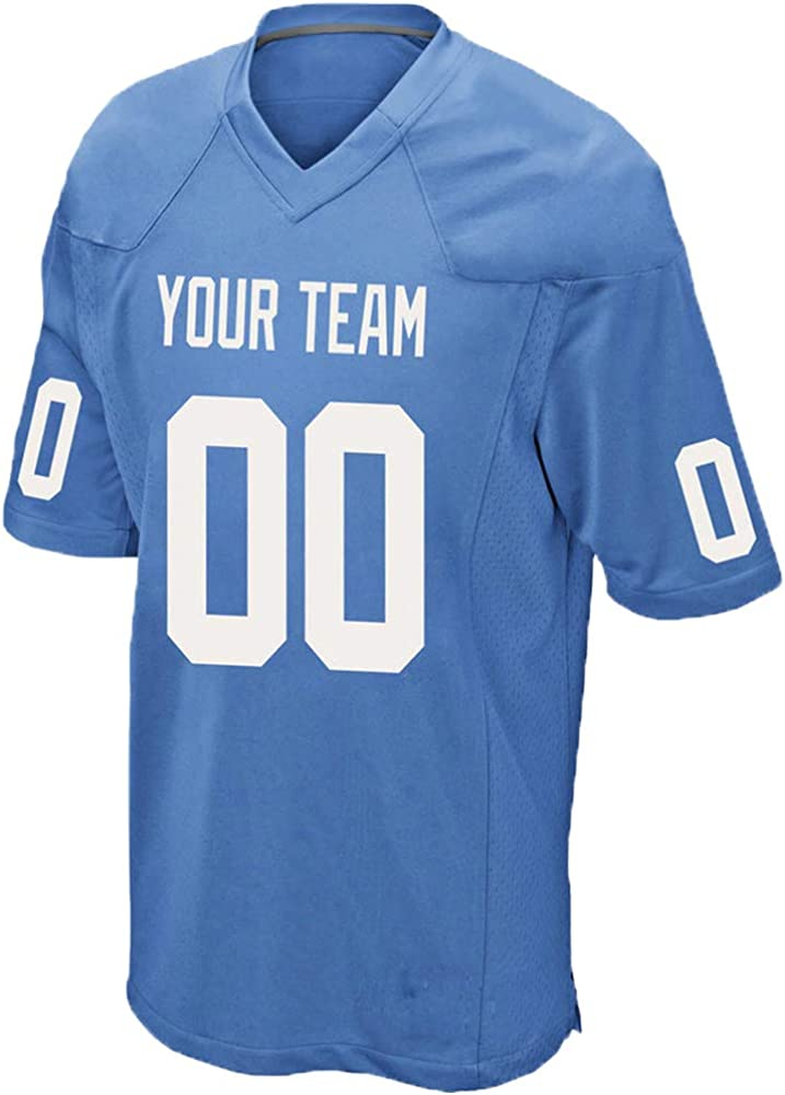 Custom Blue Adult Mesh Replica Football Game Jersey Embroidered Team Name and Your Numbers