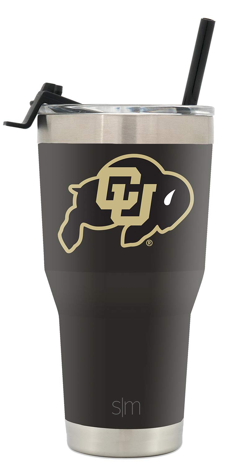 Simple Modern Colorado University 30oz Cruiser Tumbler with Straw & Flip Lid - Vacuum Insulated Stainless Steel Travel Mug - Tailgating Cup College Flask