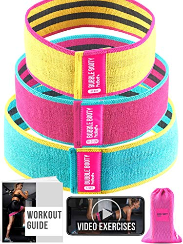 PeoBeo Fabric Resistance Bands | Hip Band Set of 3 Non Slip Hip Thruster Loop Bands for Glute Activation, Thick Grippy Fabric Booty Bands with Workout Book (Multicolor)
