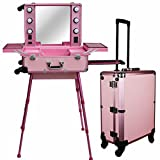 Chende Pro Studio Artist Train Rolling Makeup Case with Light Wheeled Organizer Mother 's Day Gift (Large Pink)