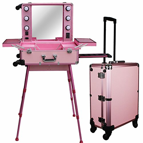 Chende Pro Studio Artist Train Rolling Makeup Case with Light Wheeled Organizer Mother 's Day Gift (Large Pink) by Chende