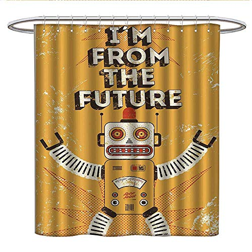 Anshesix Vintage Decorfabric Shower curtainFuture Quote with Robot Figure Fiction Electronic Pop Art Style IllustrationPleated Shower curtainMustard
