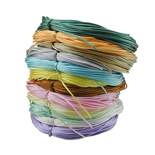 Inspirelle 12-Color 1.2mm Satin Nylon Trim Cord Rattail Silk Cord Chinese Knot Thread for Jewelry Making (20 Yards Each Color, Light ()