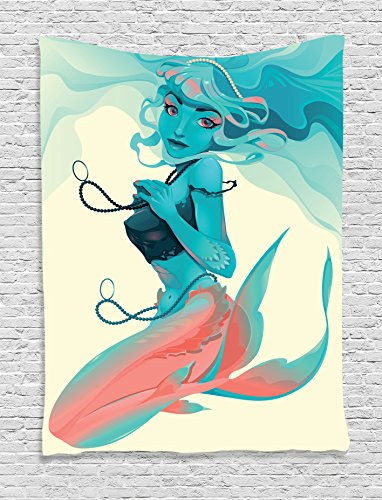 Mermaid Decor Tapestry By Ambesonne, Portrait Of Gothic Style Mermaid With Jewelry And Makeup Mythological Art Print, Bedroom Living Room Dorm Decor, 40 W x 60 L Inches, Teal Pink (Gothic Makeup Ideas)
