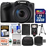 Canon PowerShot SX420 is Wi-Fi Digital Camera (Black) 32GB Card + Case + Flash + Battery + Tripod + Kit