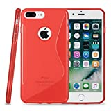 Kit Me Out CAN® Apple iPhone 7 Plus [Shock Absorbing] [Thin Fit] Premium S Line Wave TPU Gel Case Cover Skin Pouch - Red