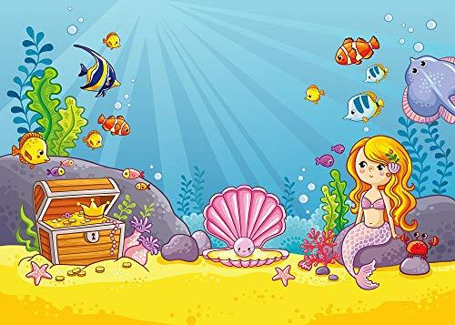 Mermaid Princess Backdrop Undersea World Treasure Backdrop Baby Birthday Party Decoration Backdrops -