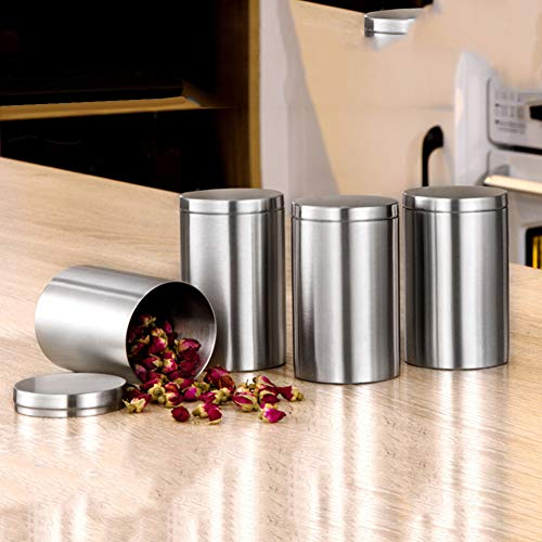 (Alamana Stainless Steel Car Cigarette Box Jar Tea Canister Easy to Clean Sealed Lid Storage Container)