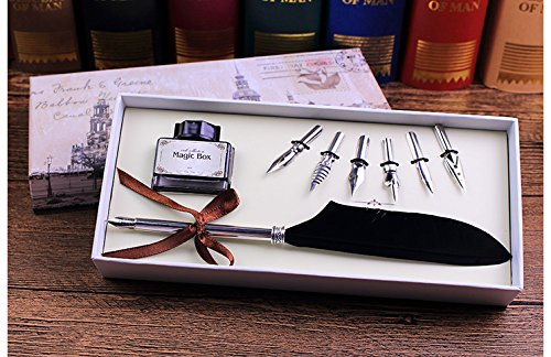 Quill Pen,Luxury Quill Pen and Ink Set (Silver) by UE Fashion (Image #4)
