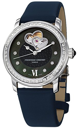Frederique Constant Double Heart Beat Steel & Diamond Womens Watch Blue Strap FC-310BDHB2PD6