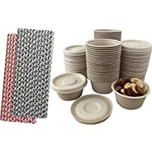 Outside the Box Papers 100% Biodegradable, 100% Compostable Bagasse/Wheat Fiber 2 oz Souffle Cups and Lids with Paper Straws - 50 Pack Black, Red,Natural