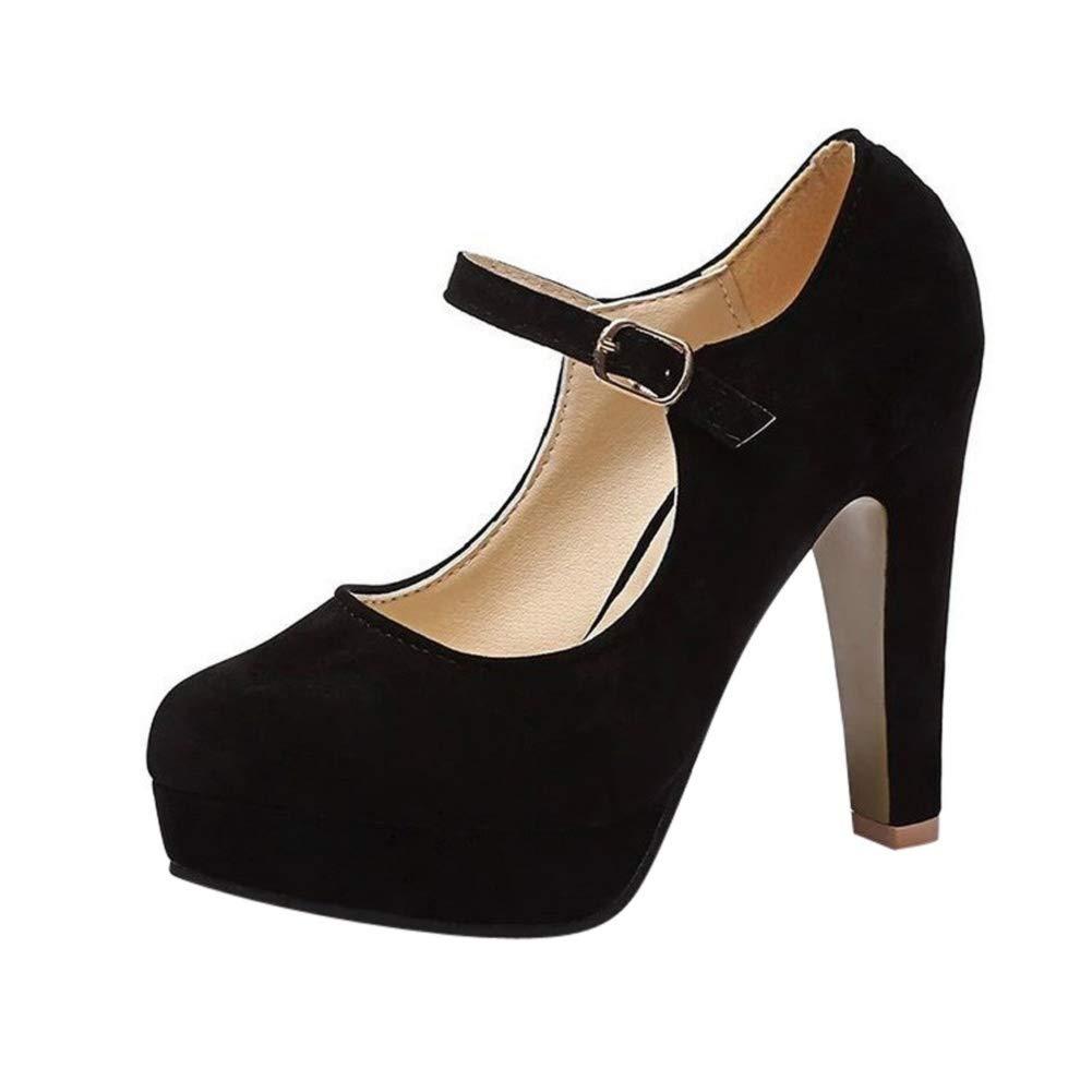 Women【 Mary Jane Stiletto】 Fashion Retro High Heels Dress Shoes Buckle Strap Pumps Platforms by Lowprofile Black