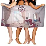 PengMin Chandelier Room Mirror Design Premium 100% Polyester Large Bath Towel, Pool And Bath Towel (80'' X 130'') Natural, Soft, Quick Drying
