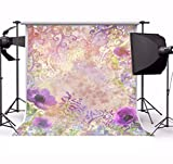 Laeacco Vinyl 5x5ft Photography Background Grunge Backdrop Vintage Wallpaper Flowers Violet Poppy Blossoms Shadow Pattern Backdrops Portraits Shoot Video Studio Props Children Girls