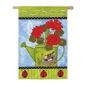 Regadera con flores y pájaros bandera de Jardín con soporte de metal