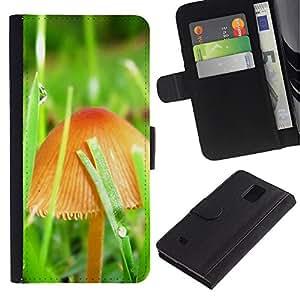 Lead-Star (Mushrooms and grass) Colorida Impresión Funda Cuero Monedero Caja Bolsa Cubierta Caja Piel Card Slots Para Samsung Galaxy Note 4 IV / SM-N910