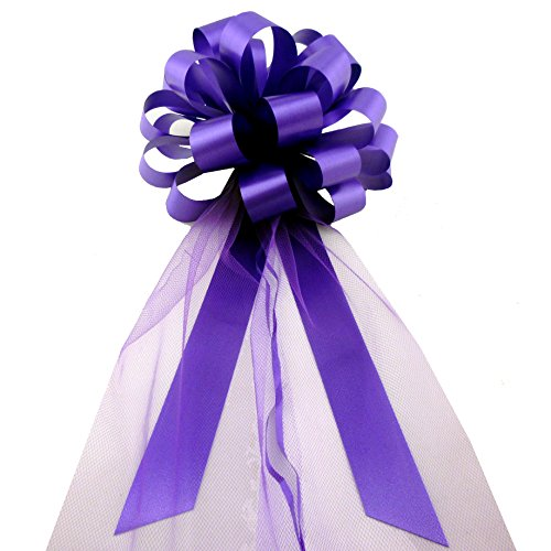 Purple Wedding Pull Bows with Tulle Tails - 8
