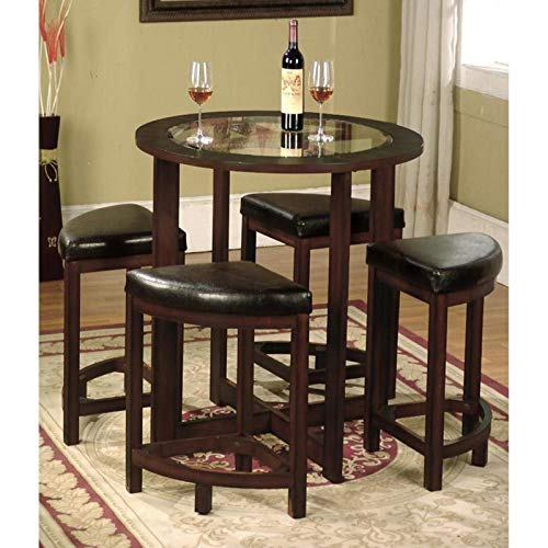Contemporary 5-Piece Set, Round Counter Height Table with Beveled Clear Glass Top, 4 Backless Stools with Faux Leather Upholstered Seats, Sturdy Solid Wood Construction, Rich Dark Espresso Finish