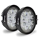 Safego 12V 24V 27W LED Work Lights Lamp for Truck OffRoad 4X4 ATV Tractor 60 Degree Flood Beam Pack of 2