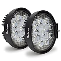 Safego 27W LED Spotlight Work Lamp 12V 24V for Truck OffRoad Lights 4X4 ATV Tractor Waterproof 30 Degree Round Pack of 2