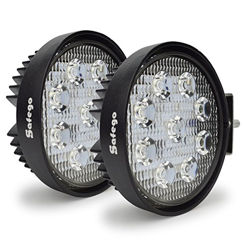 (LED Light Bar 6 Inch Led Pods Safego 2PCS 27W Led Work Light Lamp Round Driving Fog Lights for Truck Offroad 4X4 Atv Tractor 60 Degree Flood Beam 12V 24V,2 Year Warranty)
