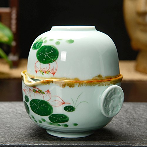 Portable Chinese Gongfu Tea Set/ Office Teaset (One Teapot One Teacup /Hand Painted /Green Lotus)
