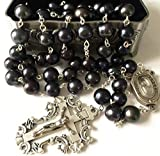 elegantmedical Catholic XL 9-10MM Black Real Pearl Beads Lourdes Water Rosary Cross Necklace Supper Box CASE Womens Mens Gifts