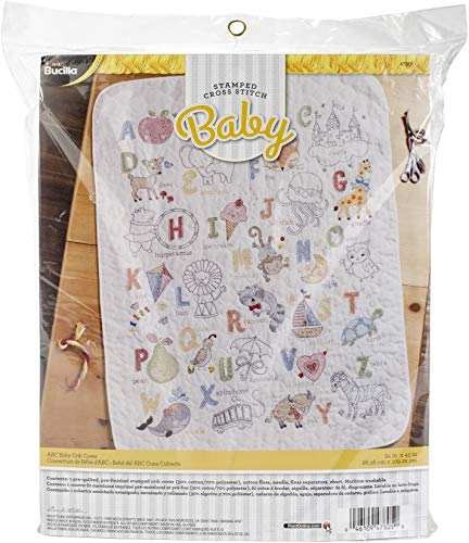 Bucilla 47805 Stamped Cross Stitch Crib Cover, ABC's