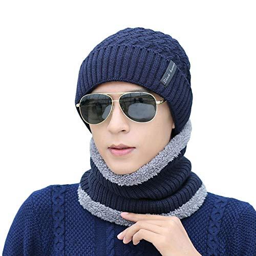 Ukallaite - Conjunto de pañuelo de Punto para Hombre, diseño de Gorro de Invierno Gris Gris M azul marino