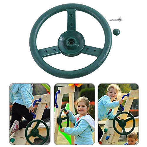 Pirate Ship Activity Set - Nifera Kids Playground Steering Wheel Attachment Playground Swing Set Accessories Replacement Pirate Ship Wheel for Jungle Gym Climbing Frame 10 Inch (Green)