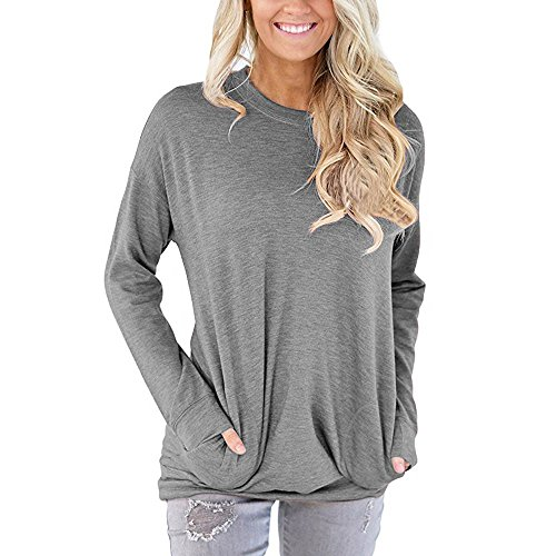 Toimoth Women Casual Long Sleeve Cotton T-Shirt Blouses Tops with Pockets (Grey,L)
