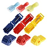 60 Pcs T-Tap Wire Spade Connectors Self-Stripping Soldylon Fully Insulated Male and Female Electrical Butt Terminal Crimp Kits 30 Pairs Red Blue Yellow