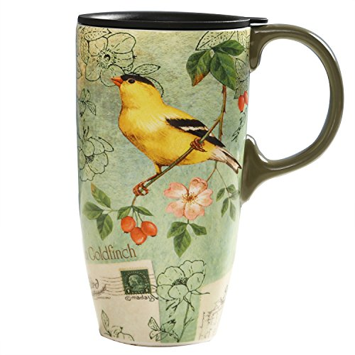 (CEDAR HOME Coffee Ceramic Mug Porcelain Latte Tea Cup With Lid in Gift Box 17oz. Yellow Song Bird)