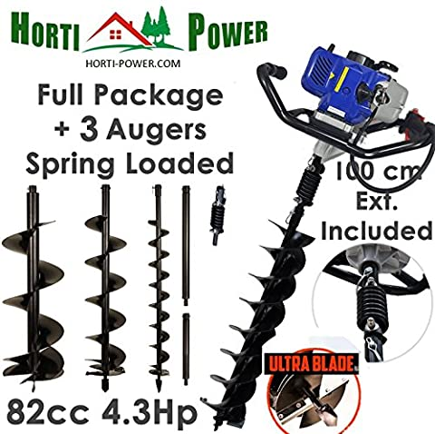 Professional Earth Auger Post Pole Borer 82 CC 3 Drills Bits 100 150 200 Ultrasharp with extensions spring (Professional Auger)