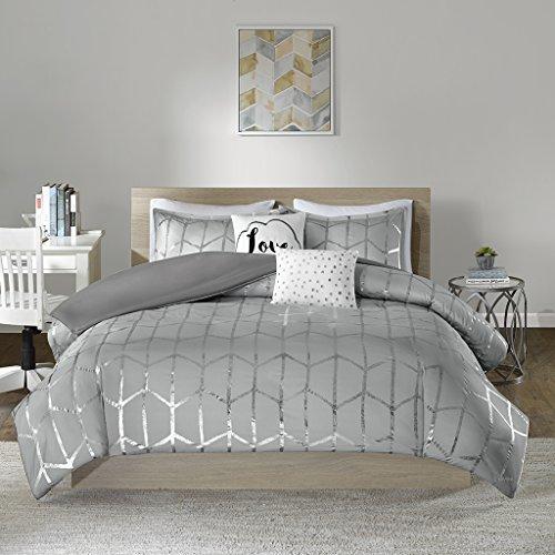 Intelligent Design Raina Metallic Printed Duvet Cover Set, King/Cal King, Grey/Silver (King Comforter Set Silver)