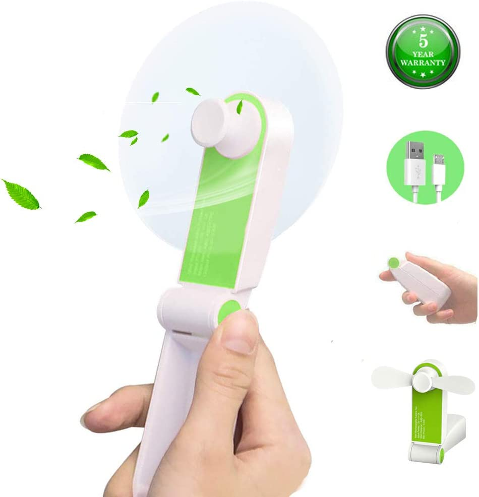 @W.H.Y USB Leafless Fan with Audio Mini Home Portable Desktop Small Fan Cartoon,Green