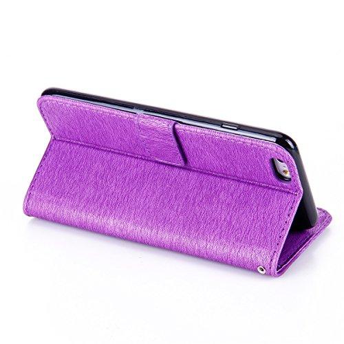 Funda iPhone 6s Plus, Funda de brillo iPhone 6 Plus, Lifetrut Sólido Shiny Sparkle Libro de Estilo de Cuero con Ranura para Tarjetas de Cierre Magnético Soporte Funda de Teléfono de la Función con Cor E205-Púrpura