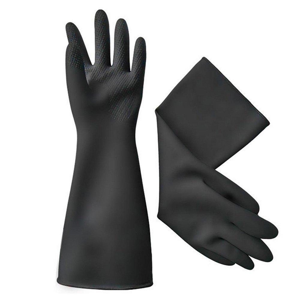 Cocina Cocina Laboratorio Experiment Herramientas Trabajo–Lavado Lavado Plus Dick Acid Cuenco Best integrado látex guantes 40cm Negro Kangzy