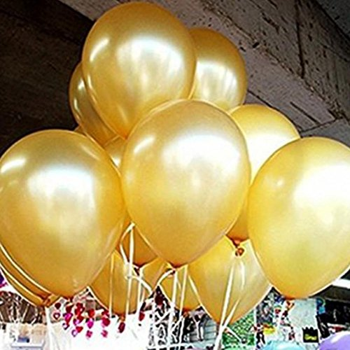 AnnoDeel 100 pcs 10 Latex Gold Balloons, Pure Pearl Helium Wedding Decorations Birthday Party Decorations