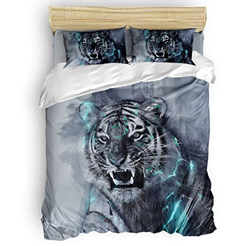 Bilagawa King Size Duvet Cover Sets 4 Pcs Beding Sets for Kids,Hand Painting Tiger with Sharp Teeth Animal Printed Chidlren Bed Sheet Set,Include 1 Comforter Cover 1 Bed Sheets 2 Pillow Cases