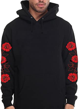 Calidesign Mens Hoodie With Red Roses On Sleeve Floral Pullover